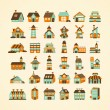 Retro house icon set — Stockvektor