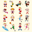 Sport player icons set — Stock Vector