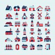Retro house icon set — Stock Vector
