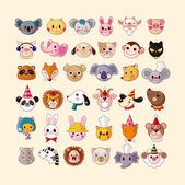 Set of animal face icons — Stock Vector