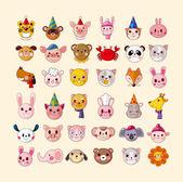 组的动物头图标 — 图库矢量图片