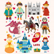 Set of fairy tale element icons — Image vectorielle
