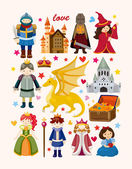 Set of fairy tale element icons — Stock Vector