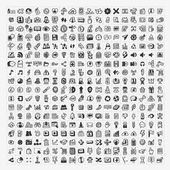 100 doodle web icons set — Stock Vector