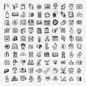 100 doodle pictogrammen set voor websites — Stockvector