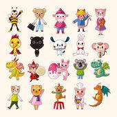 Conjunto de iconos de animales — Vector de stock