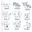 Set of doodle animal icons — Stock Vector