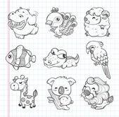 Conjunto de ícones de animais doodle — Vetor de Stock