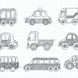 Stock Vector: Doodle transport car icons