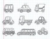 Doodle transport car icons — Stock Vector