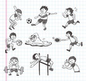 Doodle sport player icons — Stock Vector