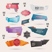 Conjunto de ilustração vetorial retrô de fitas e etiquetas, banners de origami — Vetor de Stock