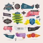 Set van retro linten en etiketten, origami banners — Stockvector