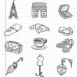 Stock Vector: Doodle Paris element icons