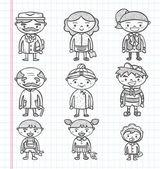 Doodle familie pictogrammen, illustrator lijn hulpmiddelen tekening — Stockvector