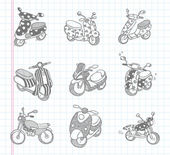 Doodle motorcycle icons — Stock Vector