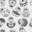 Seamless doodle Russian Doll pattern — Stock Vector #28602691