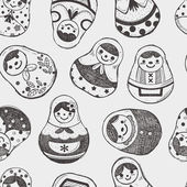 Seamless doodle Russian Doll pattern — Stock Vector