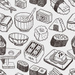 Seamless Japanese sushi pattern — Stockvektor