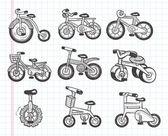 каракули велосипедов значки — Cтоковый вектор