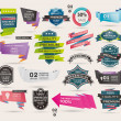 Set of Retro ribbons and labels ,Origami banners,vector illustration — Stockvektor
