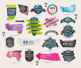Set of Retro ribbons and labels ,Origami banners,vector illustration — Stock Vector