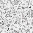 Seamless doodle animal pattern — Stok Vektör