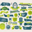 set van retro linten en labels — Stockvector