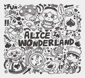 Doodle alice in wonderland element — Stock Vector