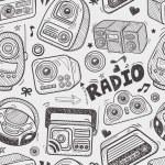 Seamless doodle radio pattern — Stock Vector
