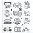 Doodle radio icons — Stock Vector