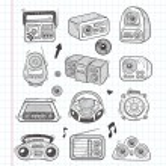 Doodle radio icons — Stock Vector