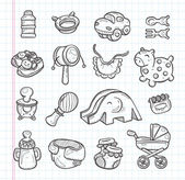 Hand draw baby element — Stock Vector