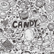 Seamless doodle candy pattern — Stock Vector
