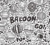 Seamless doodle hot air balloon pattern — Stock Vector