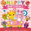 Funny animal birthday card — Stock Vector