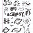 Doodle ecology icons — Stock Vector