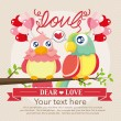 Stock Vector: Vintage birds and love