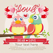 Vintage birds and love — Stock Vector