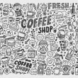 Doodle coffee element background — Stock Vector