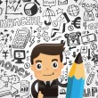 Businessman and doodle business element background — Imagens vectoriais em stock