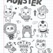 Doodle cute monster icons — Stock Vector