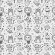 Seamless cute doodle monster pattern background — Stock Vector
