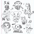 Doodle animal music band icons set — 图库矢量图片