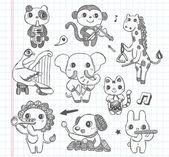 Doodle animaux musique bande ensemble d'icônes — Vecteur