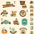 Retro house label set — Stock Vector