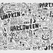 Doodle halloween holiday background — Stock Vector