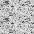 Seamless doodle halloween holiday background — Imagen vectorial