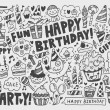 Doodle Birthday party background — Vector de stock  #32457653