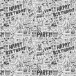 Seamless Doodle Birthday party pattern background — Stock Vector